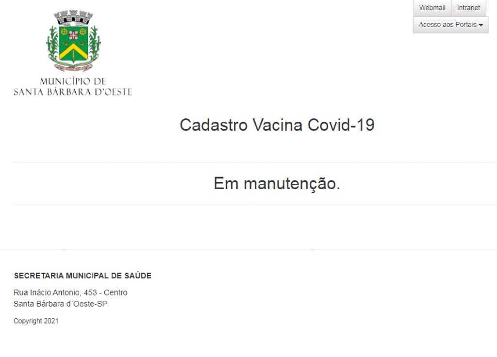 Cidades - Site para cadastro de vacinação contra a Covid-19 está em manutenção